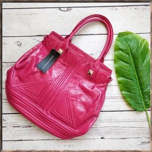 NWT FRENCH CONNECTION Pied Piper Glossy Pink Tote